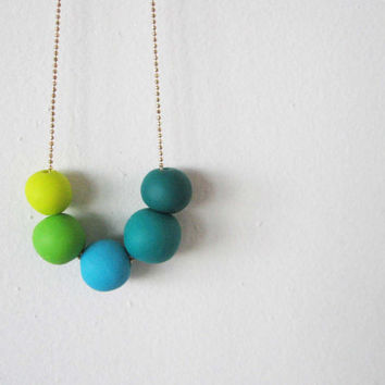 "Ombre beaded polymer clay necklace- green shades beads - sprin jewelry "" Round and round"""