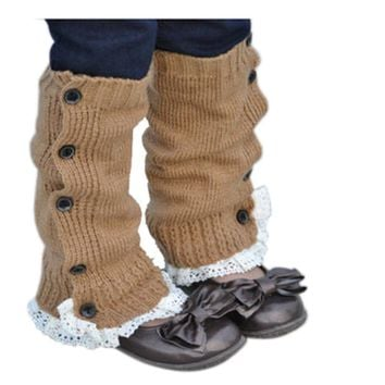 Leg Warmers for Girls Kids Winter Solid Crochet Knitted Lace Boot Cuffs Toppers Socks Botas Botines Mujer Invierno