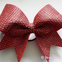Red rhinestone material cheer bow.