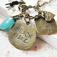 Personalized Beach Girl Charm Necklace, personalized jewelry, beach theme jewelry, bronze necklace, sea