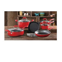 The Pioneer Woman Pre-Seasoned 10-Piece Non-Stick Cookware Set -RED FREE SHIP