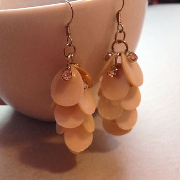 White Shell and Silver Dangle Earrings, White Shell Earrings, Silver Dangle Earrings
