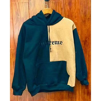 """Supreme"" Contrast Color Couple Embroidery Casual Letter Print Velvet Long Sleeve hooded Pullover Sweatshirt Top Sweater hoodie Blue Beige I-YQ-ZLHJ"
