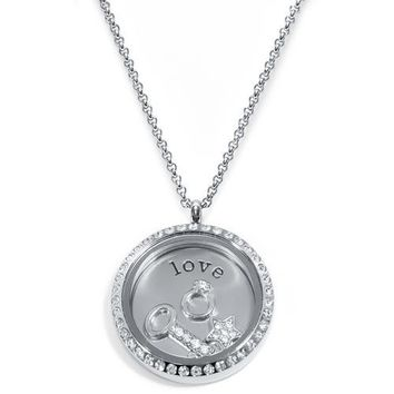 Love Floating Locket ringed with stones