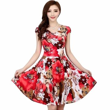 2018 New Fashion women Summer Floral Print Short sleeve V neck Slim Casual sundress Plus Size Beach Dress Bohemian Style