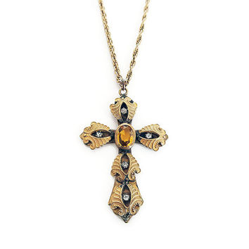 Victorian Revival Cross, Vintage Cross, Gold Plated, Citrine Topaz Glass, Christian Cross, Religious Jewelry, Vintage Necklace