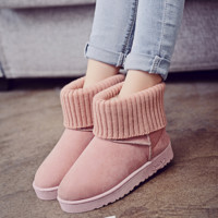 Winter new low-level wool boots flat-bottomed non-slip snow boots warm plus cotton boots shoes Pink