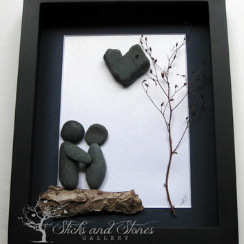 Unique Couple's Gift- Personalized COUPLE'S Gift- SticksnStone Designs- Love Gift -  Pebble Art - Canadian Artwork
