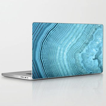 Blue Agate Laptop Decal, Light Blue Crystal Geode Laptop Decal, Blue Laptop Decal for Apple Macbook Air, Macbook Pro Retina, Macbook Pro