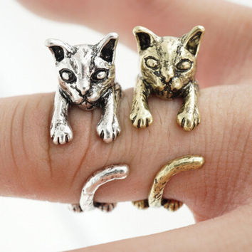 Women and Girls Cat Ring Vintage Handmade Fashion Jewelry Cute Animal Rings+ Christmas Gift Box