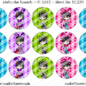 Kawaii Emo Girl with Easter Ears  - 1 inch Circle Bottle Cap Image - 4x6 and 8.5x11 Digital Collage Sheet (No. BC220) - Instant Download