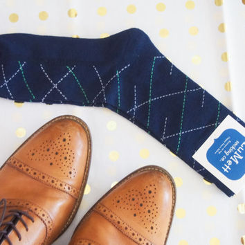 Navy Men's dress sock, groomsmen sock,diagonal striped mens sock, colorful sock, elegant sock, navy striped sock, athletic sock, cool socks,