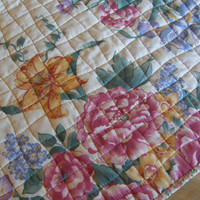 Spring Quilted Table Runner - Cottage Chic Nine Patch Topper