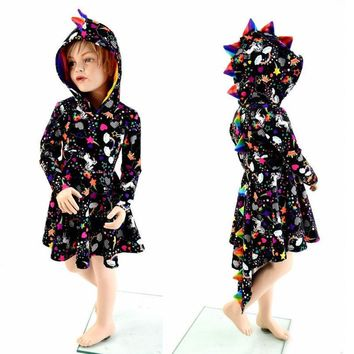 Newborn Baby Kids Girl Dinosaur Party Dress Outfits Halloween Cosplay Clothes