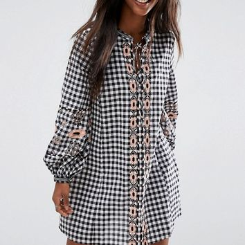 ASOS Long Sleeve Embroidered Dress in Gingham at asos.com