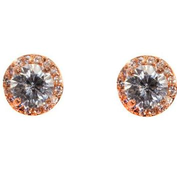 Starla Clear Halo Stud Earrings | 3.5ct | Rose Gold