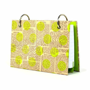 3 x 5 index card binder, neon green polka dots on newsprint, daily memory journal, recipe binder with a set of index card dividers
