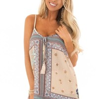 Parchment Sheer Floral Print Tank Top with Tassel Tie