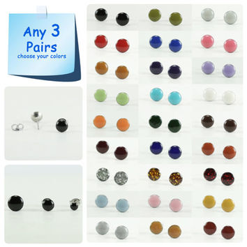 Any 3 Pairs - Stud Earrings Set - Tiny Stud Earrings - Small Stud Earrings - Surgical Steel Post - Simple Cute Earring - 4mm / 6mm / 8mm