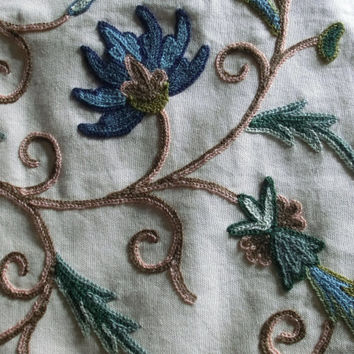 Crewel work fabric, hand embroidered, 4.48 yards, floral design in blues, greens and browns, natural dyes. #IAM1.