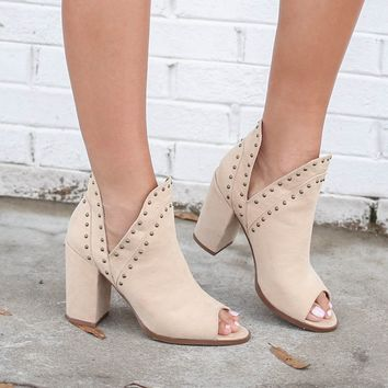 A Million Reasons Nude Studded Peep Toe Bootie