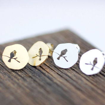 Love bird on the branch Disc Stud Earrings 3 color