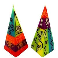Set of Two Hand-Painted Pyramid Candles - Matuko Design - Nobunto
