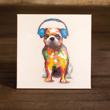 Oil Painting-Bull Dog with Blue Headphones