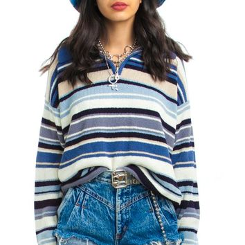Vintage 90's Tricot Stripe Sweater - One Size Fits Many