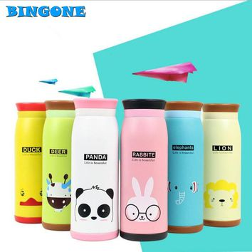 Bingone 450ml Thermos Mug Insulated Tumbler Travel Cups Stainless Steel Thermo Vacuum Cup for Office Lovely Animal Pattern -42