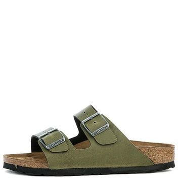 BIRKENSTOCK Women's Narrow Arizona Birko-Flor Olive Pull Up Sandal