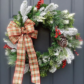 Winter Christmas Door Wreath Plaid Bow Frosted Evergreen Berry Wreath Red White