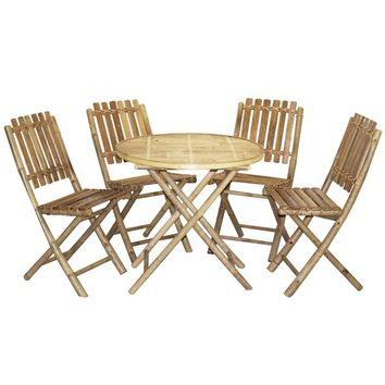 Bistro Bamboo Table and 4 Chairs Set (Vietnam) | Overstock.com Shopping - The Best Deals on Patio Tables