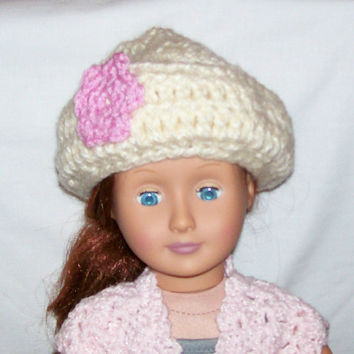 18 Inch Doll Hat, Crochet, Handmade, Doll Accessories, 18 Inch Crochet Doll Clothes, American Made, Girl Doll Clothes, Winter Hat, Doll Hat