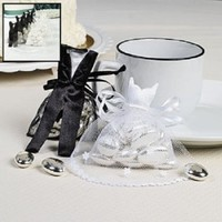 Fun Express FX IN-14/304 24 Bride and Groom Satin and Tulle Wedding Party Favor Bag