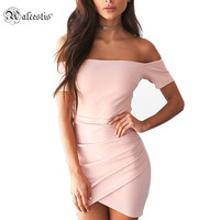 Alcestis Sexy Party Club Dresses Off Shoulder Summer Dress Women 2017 Black Pink Short Sleeve Mini Dress Vestidos Robe Femme