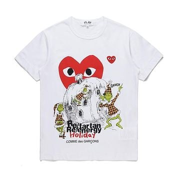 Mens DSM limited edition CDG PLAY COMME DES GARCONS Play White Re-tartan Re-energy Holiday Fashion T-Shirt-1