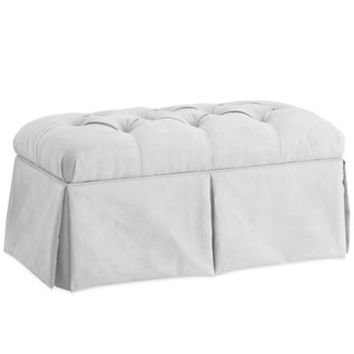 Skyline Furniture Skirted Storage Bench in Velvet White