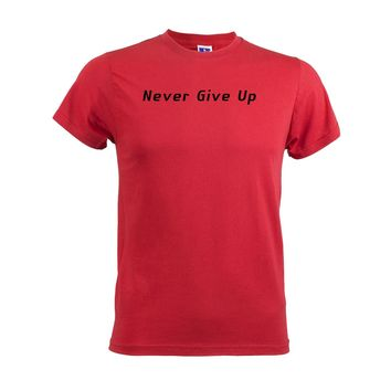 Never Give Up Mens Soft T Shirt Muscles Sport Workout Fitness Training Top Tee