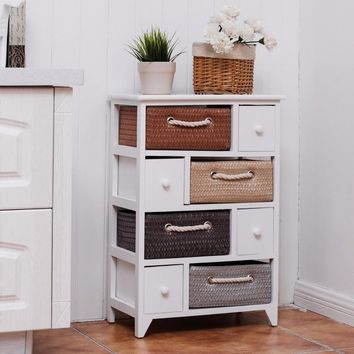 Goantex 4 Drawer 4 Woven Basket Storage Unit Rack Shelf Chest Cabinet Wood Frame White Living Room Furniture HW55993