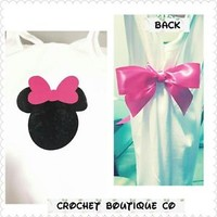 Minnie Mouse Racerback Tank - Vinyl - WITH Bow - Disney Tank Top - Disney Shirt