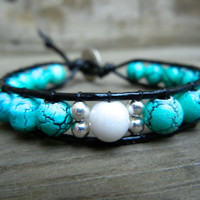 Beaded Leather Single Wrap Stackable Bracelet with Turquoise White and Silver Glass Beads on Genuine Black Leather READY TO SHIP