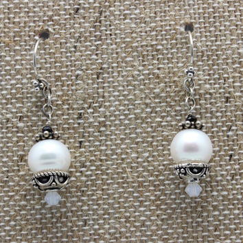 FREE SHIPPING - Pearls, Sterling Silver, Swarovski Crystals, White, Dangle Earrings, One of a Kind, OOAK