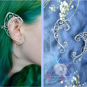 Elven ear cuffs / Elven ears, fairy ear cuffs, silver ear cuff, LOTR, elvish, wire ear cuffs