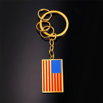 Fashion Hot US National Flag Key Chain Charms Bag Keyring American Style Stainless Steel Gold Color Enamel Men Keychain GK2252