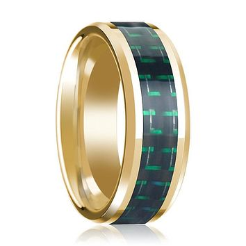 Black & Green Carbon Fiber Inlaid 14k Yellow Gold Polished Wedding Band for Men with Bevels - 8MM