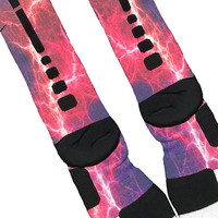 Fast Shipping!! Nike Elite Socks Customized Kaboom Pink Purple