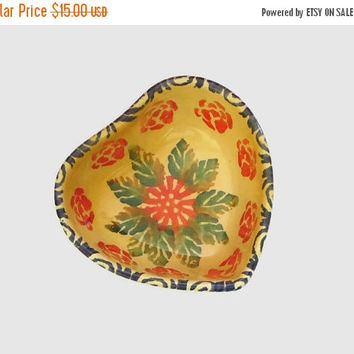 ON SALE Vintage Heart Trinket Dish, Made in Italy, Heart Shaped Glazed Pottery, Abstract Floral Design, Pretty!