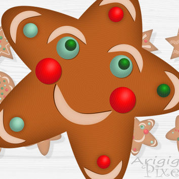 #gingerbread #cookies clip art set, stars, circles. #Christmas clipart, holiday graphics, festive, instant download, photoshop elements, PNG