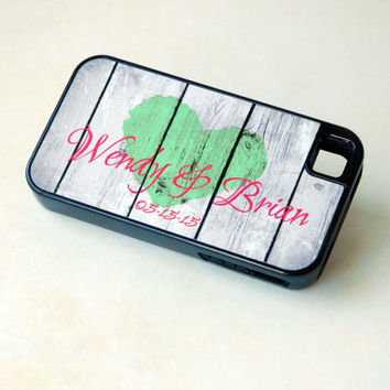 Personalized Rustic Wood Phone Case, Rustic Heart, Phone Case for Bride, Couple Phone Case, Custom Phone Case, Winter Wedding, Red and Green